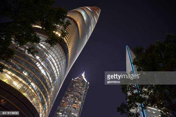 Megatall skyscrapers by night in Lujiazui, Shanghai, China