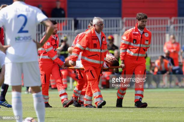 Meggiorini Riccardo of Chievo injured during the Serie A match between Cagliari Calcio and AC ChievoVerona at Stadio Sant'Elia on April 15 2017 in...