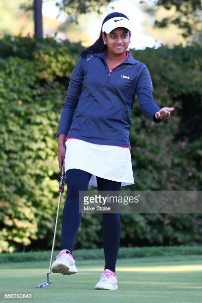 Megha Ganne reacts after putting during the Drive Chip and Putt Championship at Winged Foot Golf Club on October 1 2017 in Mamaroneck New York