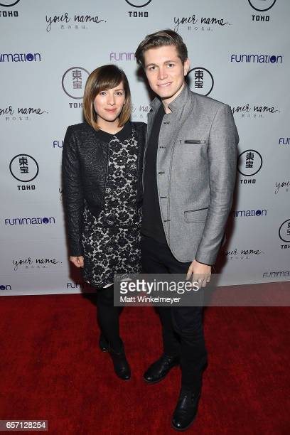 Meghan Camarena and John Estanislau attend Funimation Films presents 'Your Name' Theatrical Premiere in Los Angeles CA at Yamashiro Hollywood on...