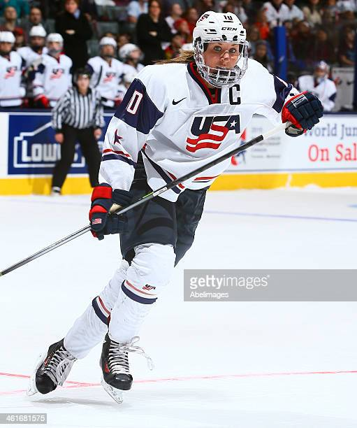 Meghan Duggan of Team USA skates up the ice against Team Canada during a Sochi preparation game at the Air Canada Centre December 30 2013 in Toronto...