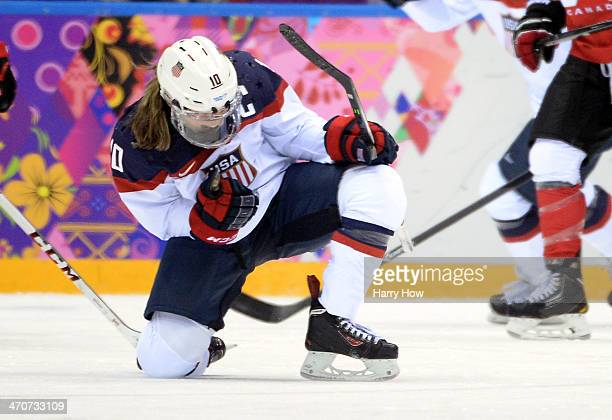 Meghan Duggan of the United States celebrates after scoring a secondperiod goal during the Ice Hockey Women's Gold Medal Game on day 13 of the Sochi...