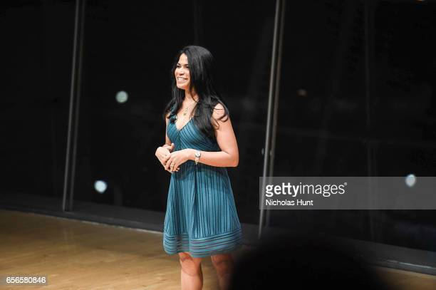 Meghan Hooper speaks at the 2017 AE Networks Upfront At Jazz At Lincoln Center's Frederick P Rose Hall on March 21 2017 in New York City