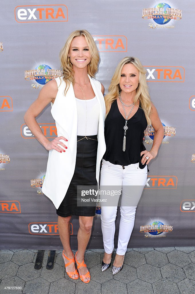 Meghan King Edmonds (L) and Tamra Judge visit 'Extra' at Universal Studios Hollywood on July 6, 2015 in Universal City, California.