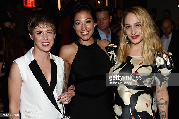 Meghan Klingenberg Christen Press and Jemima Kirke attend the 2015 Glamour Women of The Year Awards dinner hosted by Cindi Leive at The Rainbow Room...