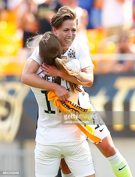 Meghan Klingenberg of the United States celebrates her goal with teammate Tobin Heath in the second half with the Terrible Towel against Costa Rica...