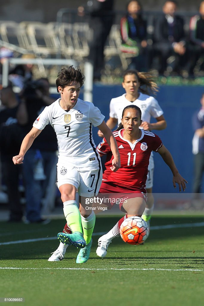 <a gi-track='captionPersonalityLinkClicked' href=/galleries/search?phrase=Meghan+Klingenberg&family=editorial&specificpeople=5629216 ng-click='$event.stopPropagation()'>Meghan Klingenberg</a> of USA vies for the ball with Monica Ocampo of Mexico during a match between Mexico and USA as part of the Women's Olympic Qualifiers at Toyota Stadium on February 13, 2016 in Dallas, United States.