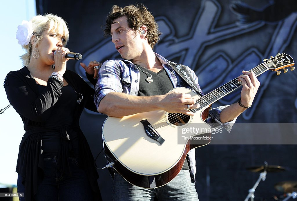 Meghan Linsey (L) and Joshua Scott Jones of Steel Magnolia performs in advance of their self titled release at Shoreline Amphitheatre on September 15, 2010 in Mountain View, California.