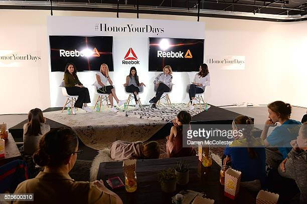 Meghan Markle Amelia Boone Payal Kadakia Kathrine Switzer and Jessica Mendoza attend REEBOK #HonorYourDays at Reebok Headquarters on April 28 2016 in...