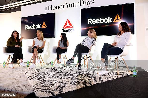 Meghan Markle Amelia Boone Payal Kadakia Kathrine Switzer and Jessica Mendoza attend REEBOK #HonorYourDays Luncheon at REEBOK Headquarters on April...