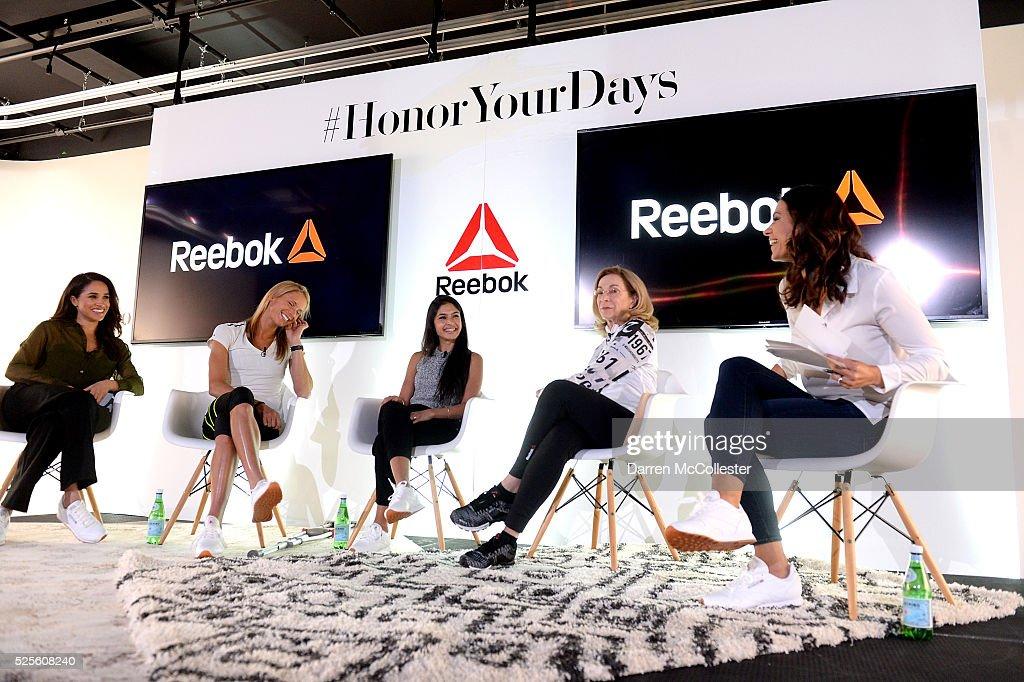 Meghan Markle, Amelia Boone, Payal Kadakia, Kathrine Switzer, and Jessica Mendoza attend REEBOK #HonorYourDays Luncheon at REEBOK Headquarters on April 28, 2016 in Canton, Massachusetts.