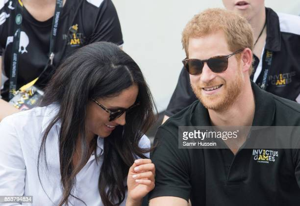 Meghan Markle and Prince Harry appear together at the wheelchair tennis on day 3 of the Invictus Games Toronto 2017 on September 25 2017 in Toronto...