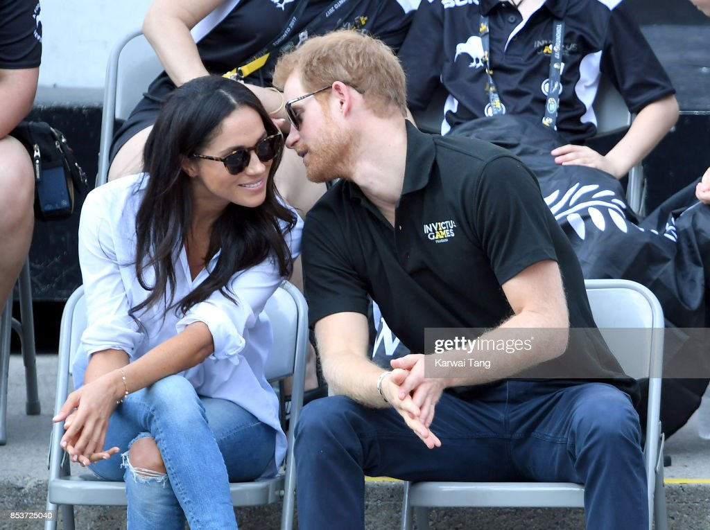 Meghan Markle and Prince Harry attend the Wheelchair Tennis on day 3 of the Invictus Games Toronto 2017 at Nathan Philips Square on September 25, 2017 in Toronto, Canada. The Games use the power of sport to inspire recovery, support rehabilitation and generate a wider understanding and respect for the Armed Forces.