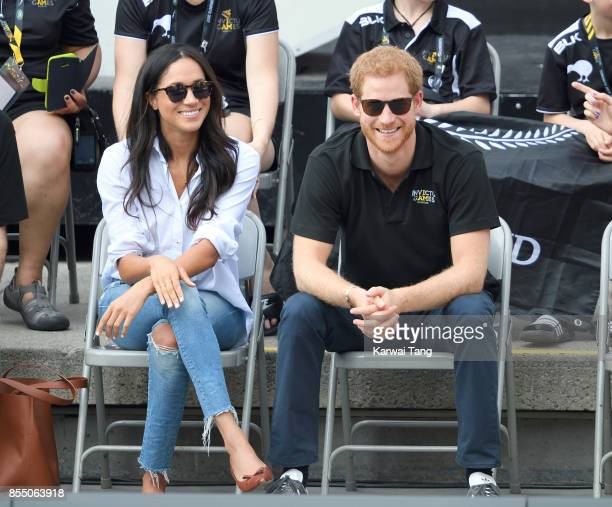 Meghan Markle and Prince Harry attend the Wheelchair Tennis on day 3 of the Invictus Games Toronto 2017 at Nathan Philips Square on September 25 2017...