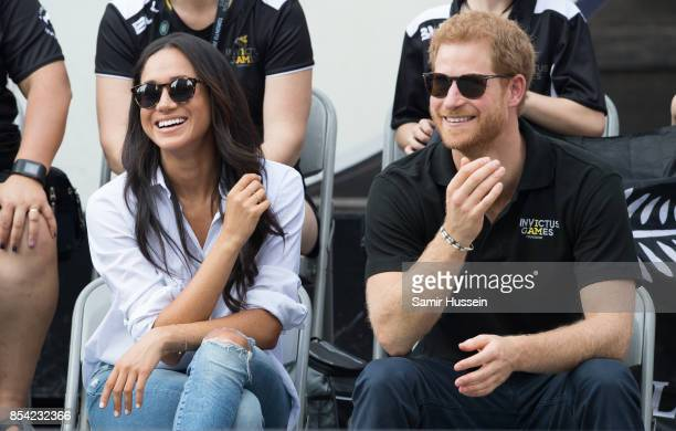 Meghan Markle and Prince Harry attend wheelchair tennis on day 3 of the Invictus Games Toronto 2017 on September 25 2017 in Toronto Canada The Games...