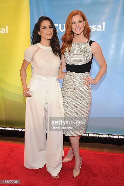 Meghan Markle and Sarah Rafferty attend the 2015 NBC New York Summer Press Day at Four Seasons Hotel New York on June 24 2015 in New York City