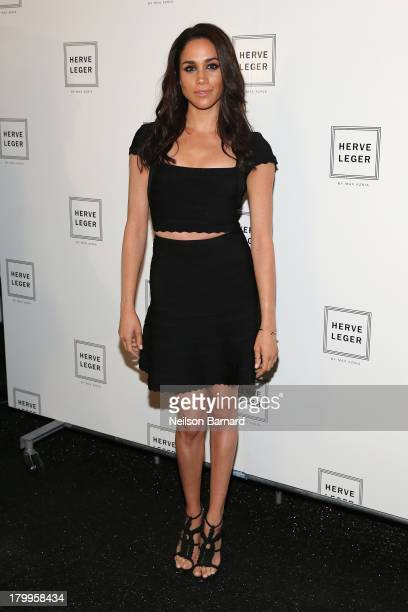 Meghan Markle poses backstage at the Herve Leger By Max Azria fashion show during MercedesBenz Fashion Week Spring 2014 at The Theatre at Lincoln...