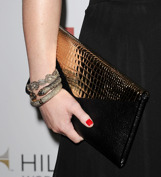 Portroids Presents Meghan Mccain: Black Leather Wristlet Stock Photos And Pictures