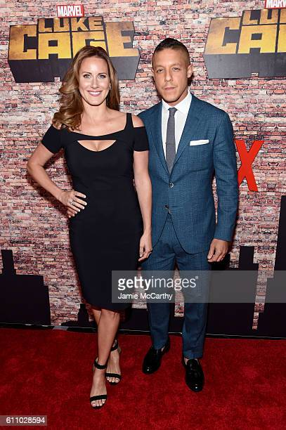 Meghan McDermott and Theo Rossi attend the 'Luke Cage' New York Premiere at AMC Magic Johnson Harlem on September 28 2016 in New York City