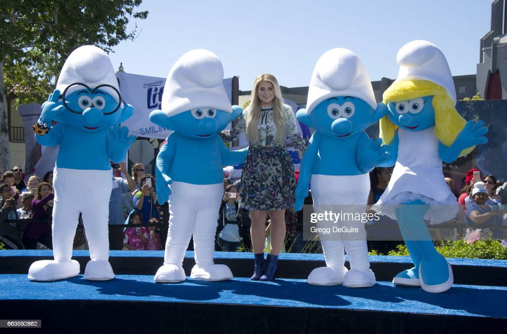 Meghan Trainor arrives at the premiere of Sony Pictures' 'Smurfs: The Lost Village' at ArcLight Cinemas on April 1, 2017 in Culver City, California.