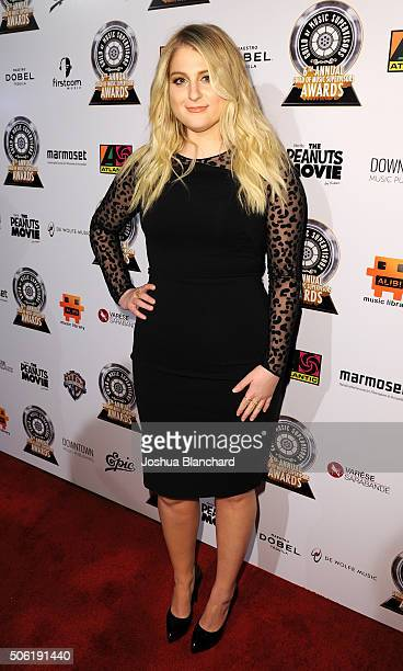 Meghan Trainor arrives to the 6th Annual Guild Of Music Supervisors at The Theatre at Ace Hotel Downtown LA on January 21 2016 in Los Angeles...