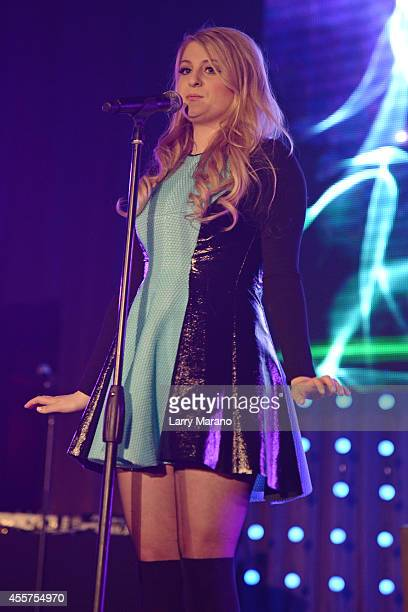 Meghan Trainor performs during the Y100 All About That Bass Party at Fontainebleau Miami Beach on September 19 2014 in Miami Beach Florida