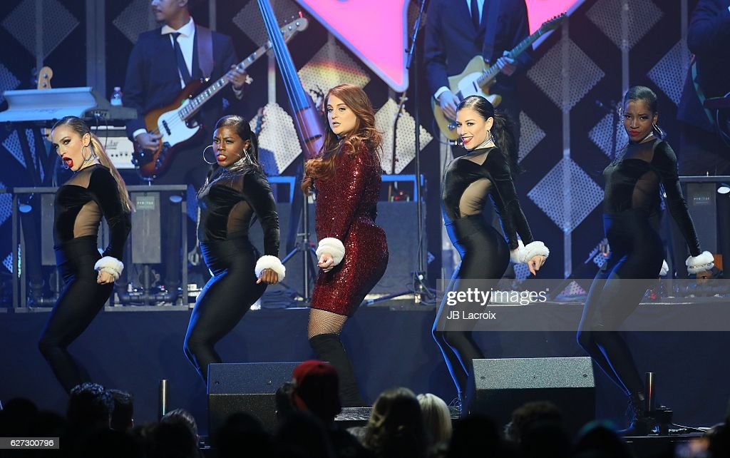 Meghan Trainor performs on stage during the 102.7 KIIS FM's Jingle Ball 2016 on December 02, 2016 in Los Angeles, California.