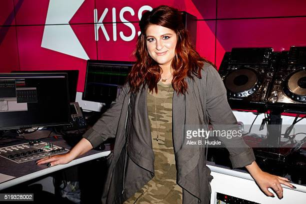 Meghan Trainor poses for pictures during a visit to Kiss FM on April 6 2016 in London England