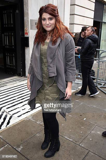 Meghan Trainor seen leaving the BBC Radio 2 on April 6 2016 in London England