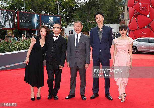 Megumi Kagurazaka Sion Sono Jun Kunimura Hiroki Hasegawa and Fumi Nikaido attends Why Don't You Play In Hell Premiere during the 70th Venice...
