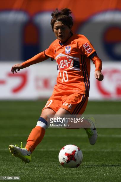 Megumi Kamionobe of Albirex Nigata in action during the Nadeshiko League match between Albirex Niigata Ladies and INAC Kobe Leonessa at Denka Big...