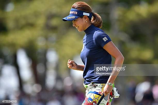 Megumi Kido of Japan celebrates after the birdie putt on the 18th green during the third round of the CyberAgent Ladies Golf Tournament at the...