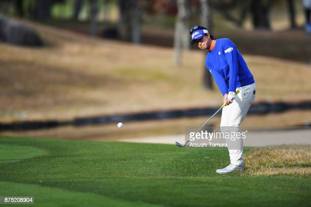Megumi Kido of Japan chips on the 1st hole during the second round of the Daio Paper Elleair Ladies Open 2017 at the Elleair Golf Club on November 17...