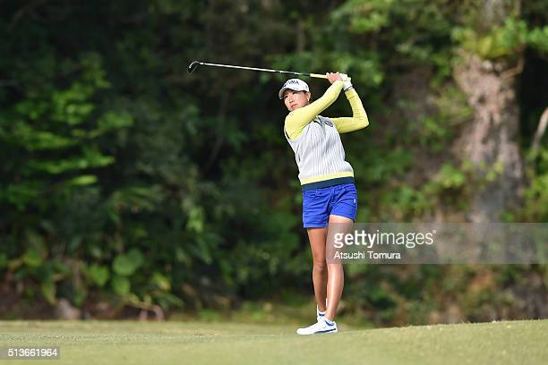 Megumi Kido of Japan hits her second shot on the 10th hall during the second round of the Daikin Orchid Ladies Golf Tournament at the Ryukyu Golf...