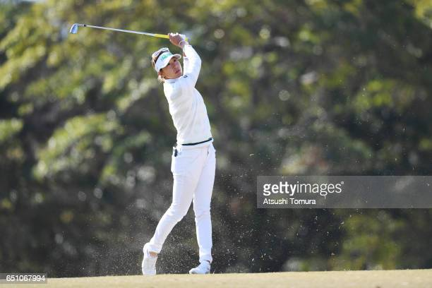 Megumi Kido of Japan hits her second shot on the 1st hole during the first round of the Yokohama Tire PRGR Ladies Cup at the Tosa Country Club on...
