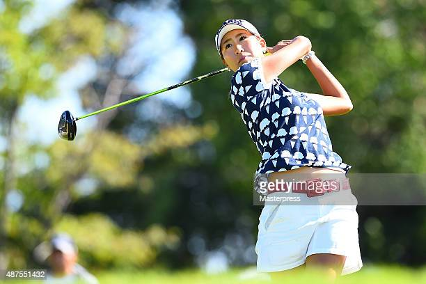 Megumi Kido of Japan hits her tee shot on the 11th hole during the first round of the 48th LPGA Championship Konica Minolta Cup 2015 at the Passage...