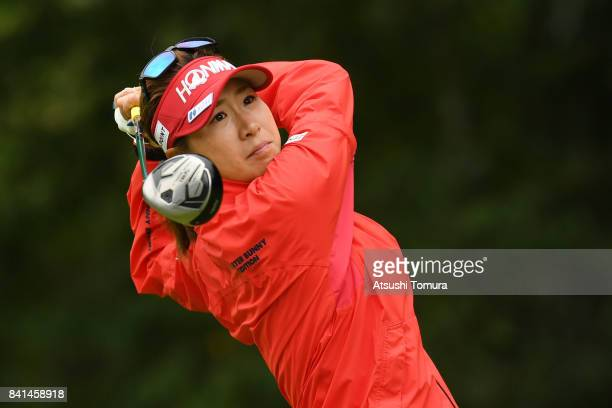 Megumi Kido of Japan hits her tee shot on the 3rd hole during the first round of the Golf 5 Ladies Tournament 2017 at the Golf 5 Country Oak Village...