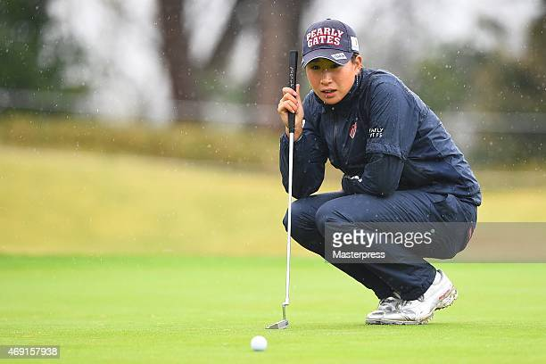 Megumi Kido of Japan lines on the 1st green during the first round of the Studio Alice Open at the Hanayashiki Golf Club Yokawa Course on April 10...