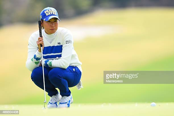 Megumi Kido of Japan lines on the 8th green in the second round of the Studio Alice Open at the Hanayashiki Golf Club Yokawa Course on April 11 2015...