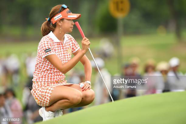 Megumi Kido of Japan lines up her putt on the 19th green during the final round of the Century 21 Ladies Golf Tournament 2017 at the Seta Golf Course...