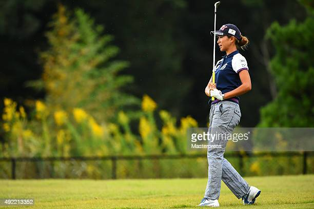 Megumi Kido of Japan looks on during the third round of Stanley Ladies Golf Tournament at the Tomei Country Club on October 11 2015 in Susono Japan