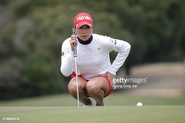 Megumi Kido of Japan looks over a green on the 6th green during the third round of the YAMAHA Ladies Open Katsuragi at the Katsuragi Golf Club Yamana...