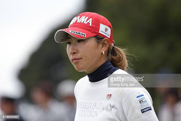 Megumi Kido of Japan on the 6th green during the third round of the YAMAHA Ladies Open Katsuragi at the Katsuragi Golf Club Yamana Course on April 2...