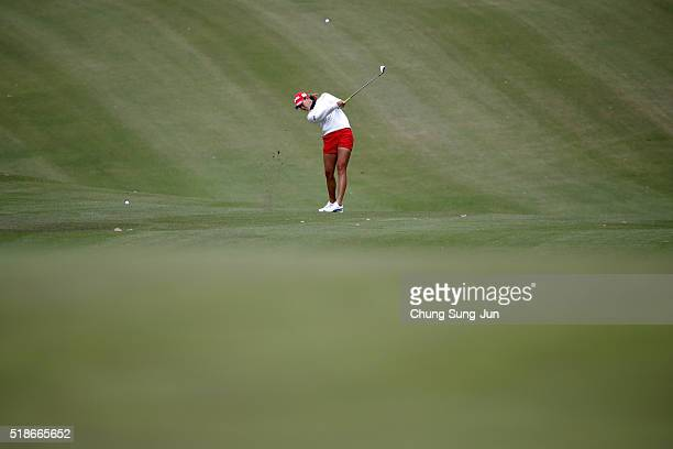 Megumi Kido of Japan plays a shot on the 6th hole during the third round of the YAMAHA Ladies Open Katsuragi at the Katsuragi Golf Club Yamana Course...