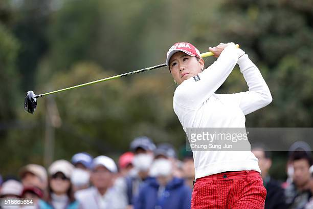 Megumi Kido of Japan plays a tee shot on the 1st hole during the third round of the YAMAHA Ladies Open Katsuragi at the Katsuragi Golf Club Yamana...