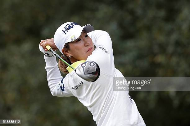 Megumi Kido of Japan plays a tee shot on the 5th hole during the final round of the YAMAHA Ladies Open Katsuragi at the Katsuragi Golf Club Yamana...