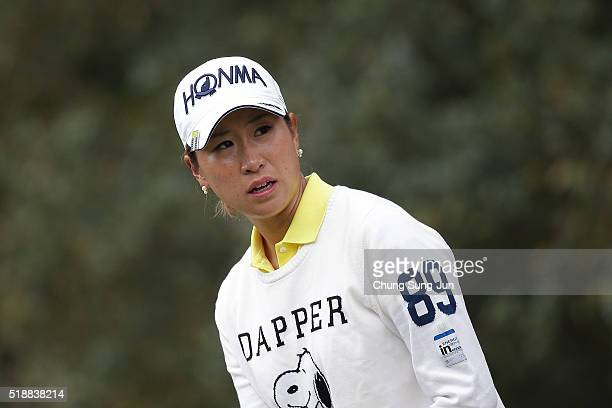 Megumi Kido of Japan prepares for tee shot on the 5th hole during the final round of the YAMAHA Ladies Open Katsuragi at the Katsuragi Golf Club...