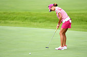 Megumi Kido of Japan putts for birdie on the 1st green during the final round of the Century 21 Ladies Golf Tournament 2016 at the Izu Daijin Country...