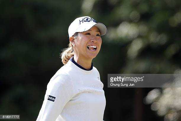 Megumi Kido of Japan reacts on the 5th hole during the first round of the YAMAHA Ladies Open Katsuragi at the Katsuragi Golf Club Yamana Course on...