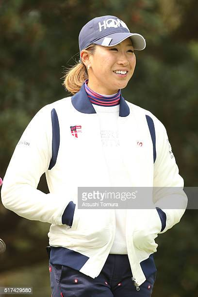 Megumi Kido of Japan smiles during the first round of the AXA Ladies Golf Tournament at the UMK Country Club on March 25 2016 in Miyazaki Japan